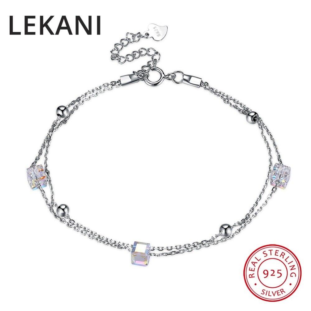 LEKANI auténticos cristales de SWAROVSKI 925 cuentas de plata brazaletes estandar hilo cadenas dobles Mujer Accesorios de joyería fina