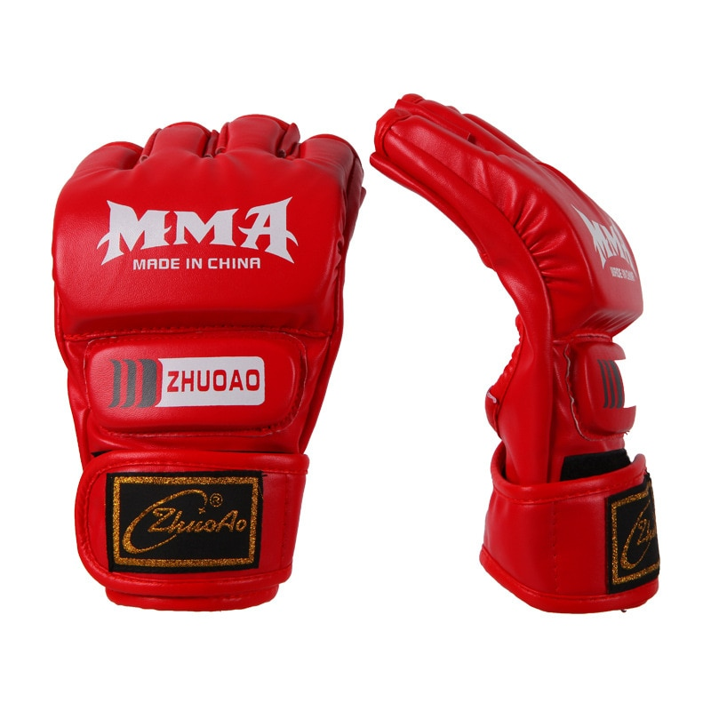 Noir/rouge ouvert doigts boxe Muay Thai MMA gants Sparring mitaines grappin combat Arts martiaux engrenages sac poinçon 2018 DEO
