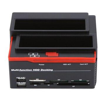 "USB 2.0 Hub 2.5/3.5"" SATA IDE HDD Docking Station Clone HDD Enclosure USB 2 ports MS/M2/XD/CF/SD/TF Card Reader EU/AU/US Plug"