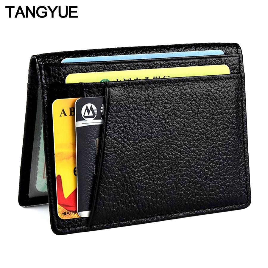 TANGYUE ID porte-carte de crédit pour hommes en cuir Ultra mince sac à main pour cartes portefeuille pour étui pour cartes de crédit porte-cartes en cuir véritable