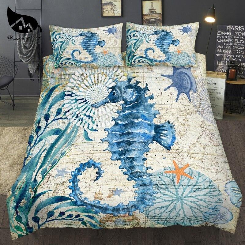 Dream NS-طقم سرير بطباعة رقمية ثلاثية الأبعاد ، طقم سرير بحري ، رسم يدوي ، فرس البحر ، غطاء لحاف من الألياف الدقيقة
