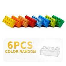 6 pièces 2x4 points épais transparent briques grosses particules blocs de construction supplément accessoire cadeau bricolage jouet Compatible avec Duplo ensemble