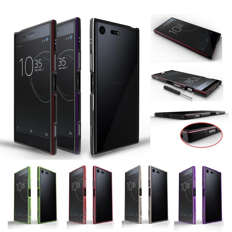 Para sony xz1 g8341 pára-choques luxo glitter metal moldura caso capa para sony xperia xz1 g8341 g8342 telefone de alumínio capa