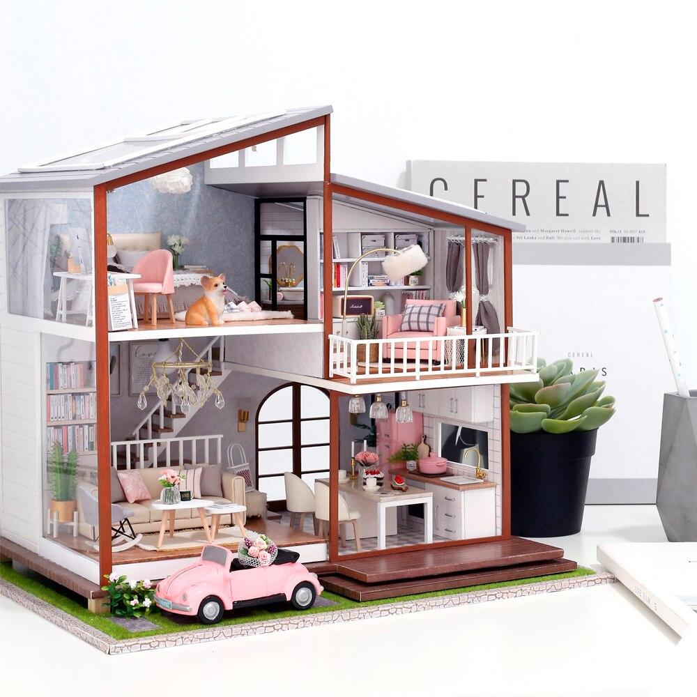 Cutebee casa de boneca em miniatura diy casa de bonecas com móveis de madeira casa brinquedos para crianças presente aniversário a010