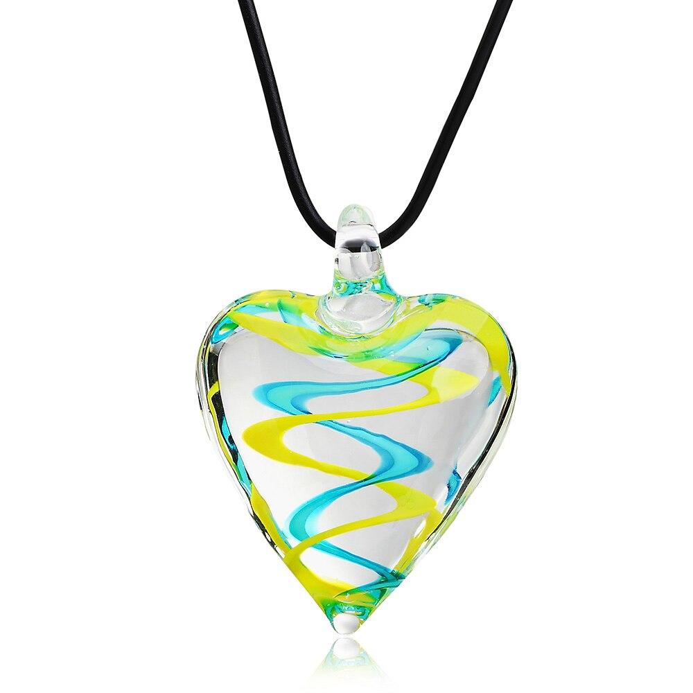 2019 de moda Murano inspirado de vidrio mezcla espiral corazón collar con colgante tipo Boho hecho a mano 6 Color de vidrio colgante collar para mujer Regalos