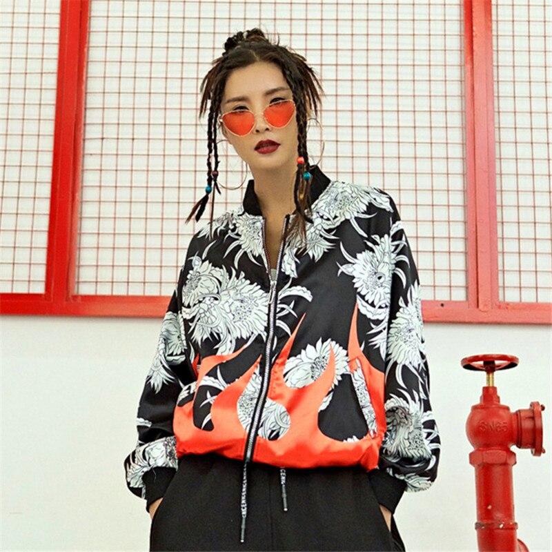 Тренч Женский в стиле хип-хоп, с цветочным принтом, черный, красный, на молнии, тонкое пальто с длинным рукавом, камуфляжное, Осеннее, винтажное, повседневное пальто в стиле Харадзюку