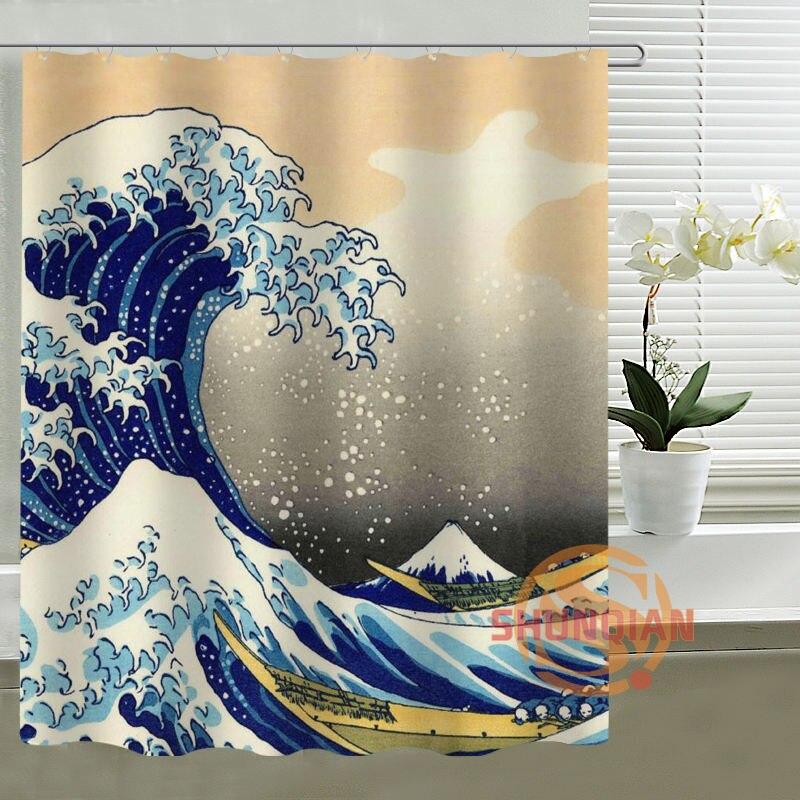 Su misura Tenda Della Doccia AXD Grande Onda off Kangawa da Hokusai Tende In Tessuto Impermeabile per il Bagno