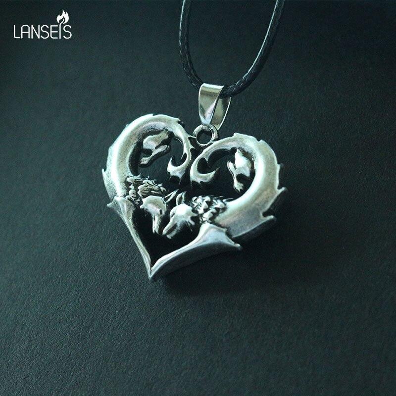 Lanseis بارد الذئب القلب سبائك الزنك قلادة ، 10 قطعة الذئب القلب الأزياء والمجوهرات-اختيار اللون