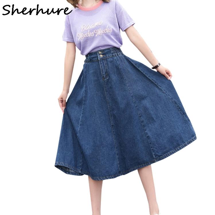 Sherhure 2019 mulheres denim saia de cintura alta plus size 4xl 5xl saia longa feminina jumper senhoras outono saia jeans saia