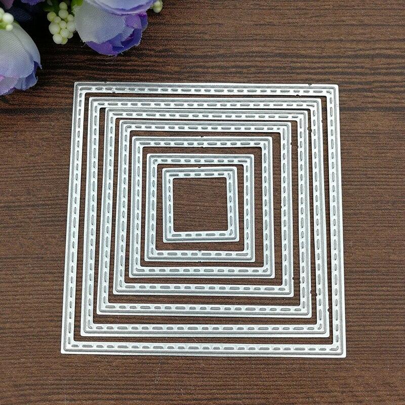 Fuera en cosido rectángulo Stackables de Metal de corte muere por álbum para recortes de fotos grabado decorativo