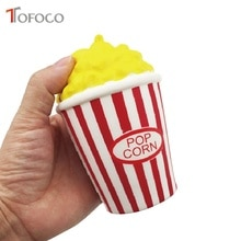 TOFOCO 12cm Kawaii Simulation PU Popcorn Squishy Food Jumbo Slow Rising Squishies Toys Anti Stress Phone Strap Holder Scent Soft