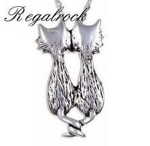 Regalrock mode mignon Double chats pendentif breloque collier Boho Hippie bohème céleste sorcellerie métaphysique bijoux