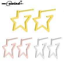 Cxwind acier inoxydable cinq branches en forme détoile boucles doreilles pour les femmes évider étoile boucle doreille gracieux Simple 3 couleurs Jwelry cadeau