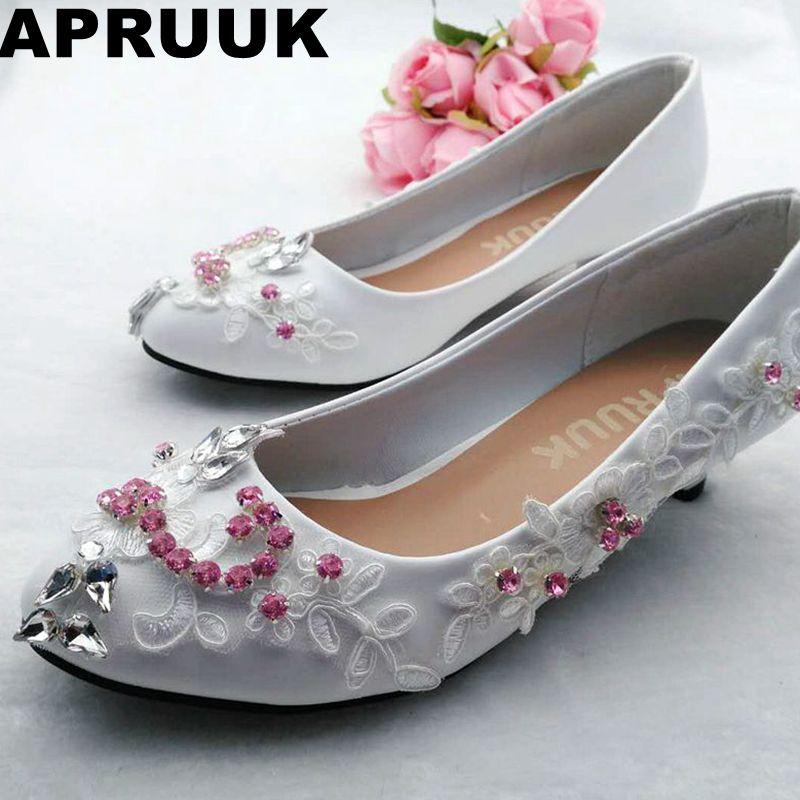 Rosa de cristal de diamante de imitación, zapatos de boda de novia de encaje blanco ronda los dedos de los pies pequeño bajo dama de tacón Mujer fiestas graduaciones Zapatos de vestir
