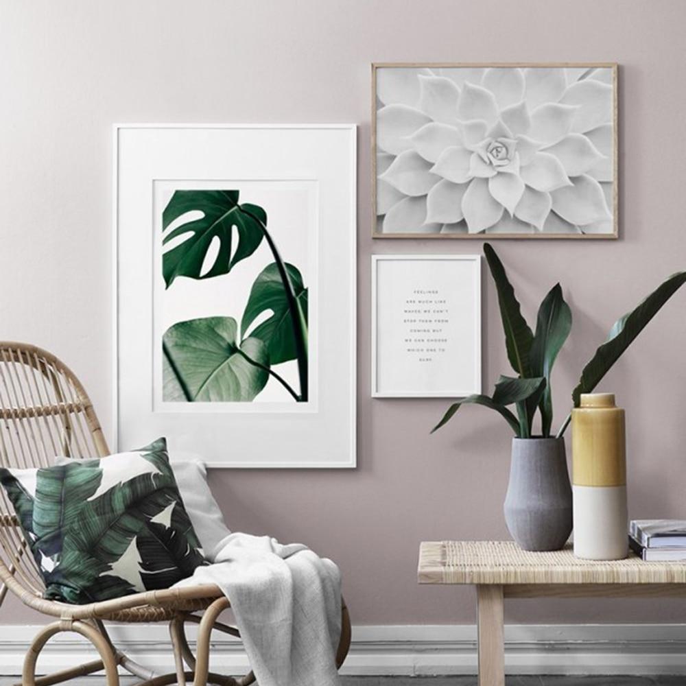 Cuadros decoración salón Monstera carteles e impresiones lienzo planta pintura pared arte escandinavo fotos decorativas para el hogar