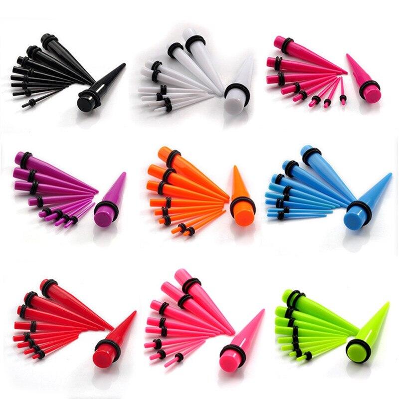 9 pares/lote Punk Acrílico Ear Taper e Plug Alongamento Kit Piercing para Mulheres Dos Homens Jóia Do Corpo Da Orelha Gauges Set 1.6-10mm