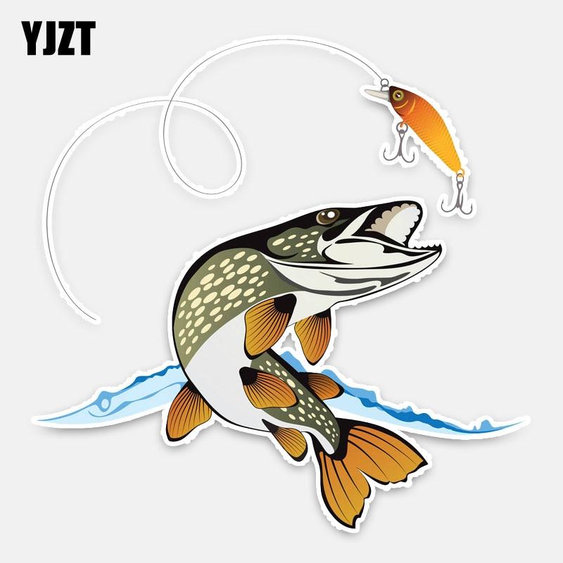 YJZT 15CM * 15CM Animal interesante pescado estilo de coche pegatina PVC para coche etiqueta decoración 5-0210