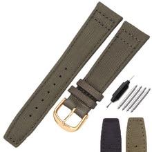 Nato Canvas Nylon Watch Strap Bracelet 20 21 22mm Green Black Women Men Fashion Watch Band Wiht Stainless Steel Pin Buckle