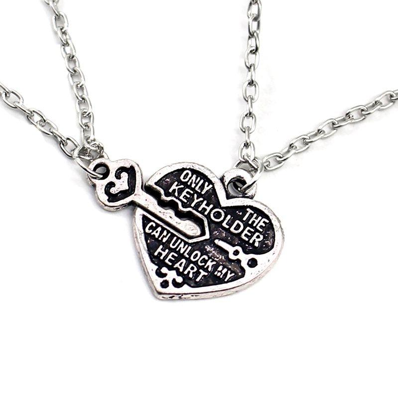 2pcs Hear Key Pendant Necklace Couples BBF Best Friends Necklaces Friendship Love Gifts (Silver)