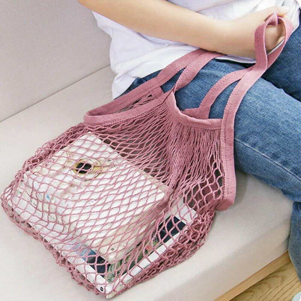 Hot Sale Mesh Net Shopping Bag Long Handle Shoulder Bag Reusable Fruit String Grocery Shopper Cotton Tote Mesh Woven Net Bags