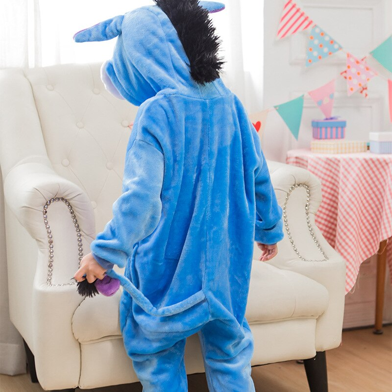 Costume enfant Kugurumi Onesie Animal bleu âne Cosplay Costume flanelle entière pyjama une pièce garçon fille enfant hiver pyjama Costume de sommeil