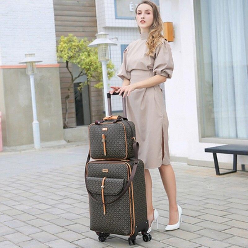 Bolso de mano de lujo de moda internacional de 16/20/24 pulgadas + maleta de viaje giratoria de equipaje de marca para mujer
