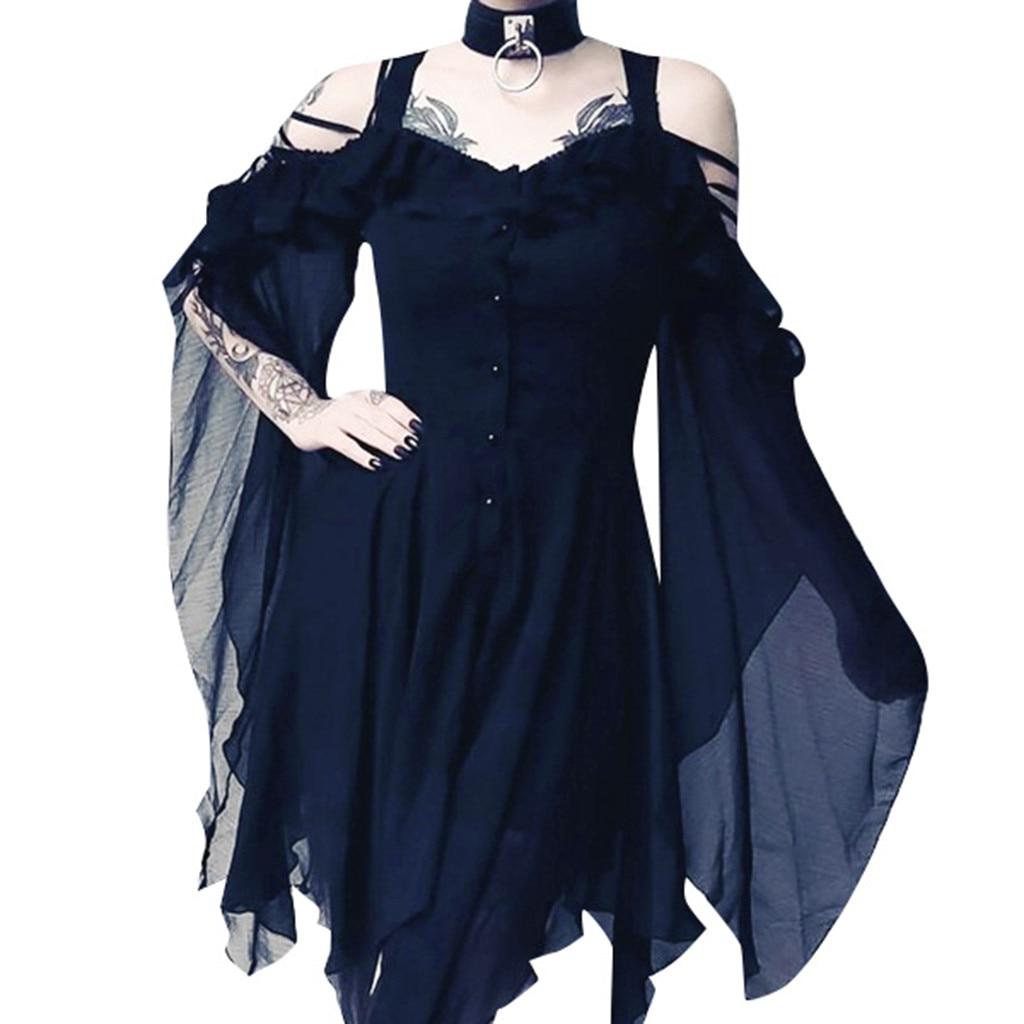 Фото Летнее повседневное свободное женское модное темное платье миди с оборками на