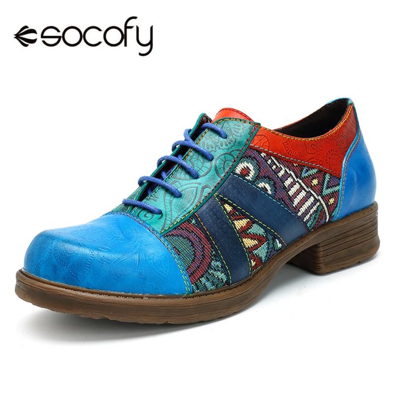 Socofy-حذاء أكسفورد من الجلد الطبيعي للنساء ، حذاء مسطح ، بوهيمي ، ريترو ، غير رسمي ، لفصلي الربيع والصيف