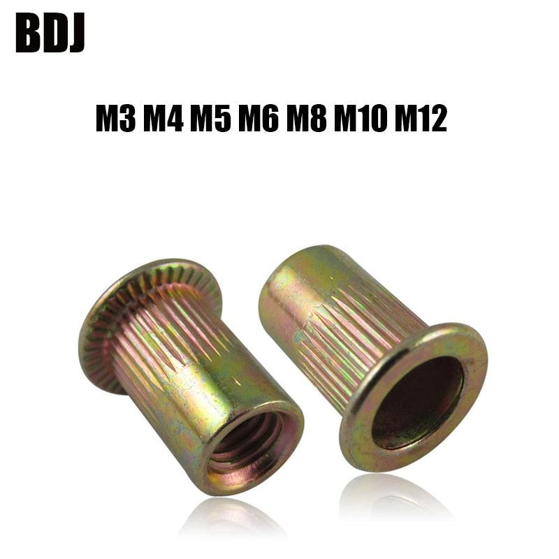40 Uds m3 M4 M5 M6 M8 M10 M12 tuercas moleteadas de acero al carbono chapadas en Zinc Rivnut cabeza plana remache roscado inserto Nutsert sombrero con remaches Nut