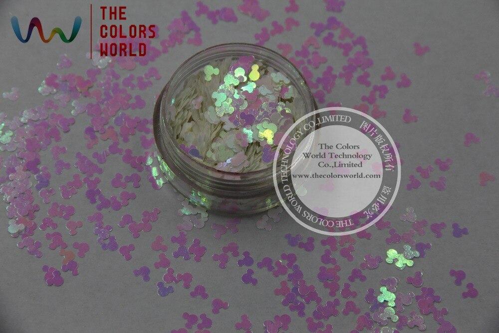 TCI03 brillo de tamaño de 4,0 MM con forma de ratón de Mickey de colores de luz Rosa Blanco con incrustaciones de perlas para uñas maquillaje