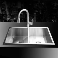 804522cm 304 stainless steel undermount kitchen sink set double bowl drawing drainer handmade brushed seamless sink