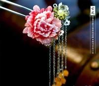 silver tassel hair stick red resin peony flower pure handmade hanfu costume accessory