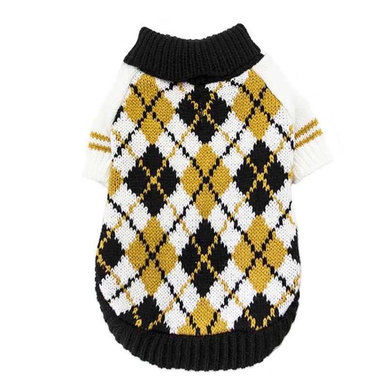 Suéter de perro caliente clásico diamante cuadros suéter de cuello de tortuga jersey de mascota abrigo pequeño mediano perros Carlino Chihuahua francés construir