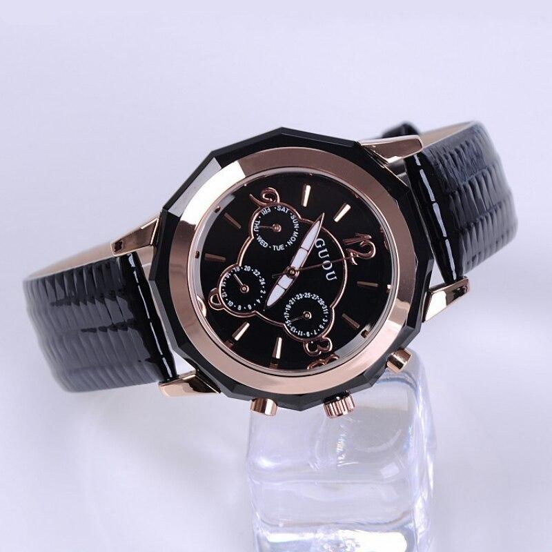 Reloj de lujo de marca superior de guú, relojes de mujer, Relojes de Cuero genuino para mujer, relojes de mujer, reloj de mujer, reloj de mujer
