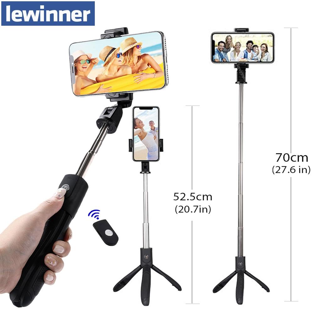 Lewinner K06 trípode de mano extensible monopié Cámara palo selfie para teléfono con Bluetooth obturador remoto teléfono móvil Stick