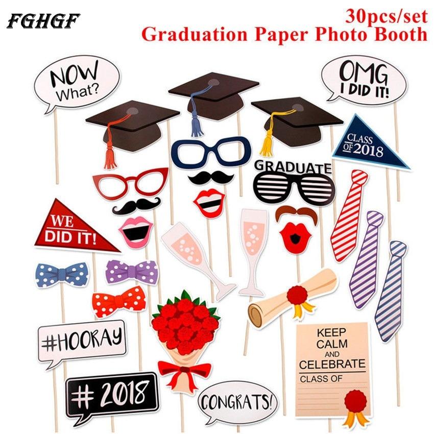 Fghgf 30 pçs photo booth adereços festa de formatura decoração 2018 bacharel boné grad parabéns graduado suprimentos photobooth