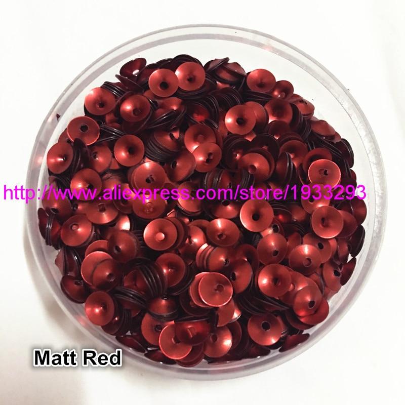 50g (3000 piezas) 6mm taza mate color rojo embudo forma redonda suelta lentejuelas Paillette costura boda artesanía buena calidad