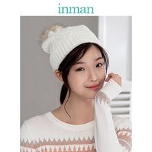 INMAN hiver Style coréen tout assorti épaissir boule de fourrure oreilles chaudes couverture bonnet en tricot