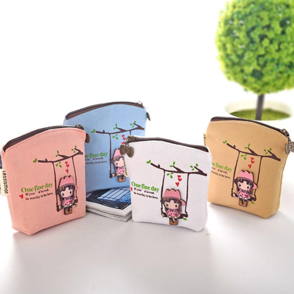 Cute Canvas Coin Bag Lovely Girls The Swing Holder Purse Small Zipper Wallet Card Purse Zip Key Case Money Clip