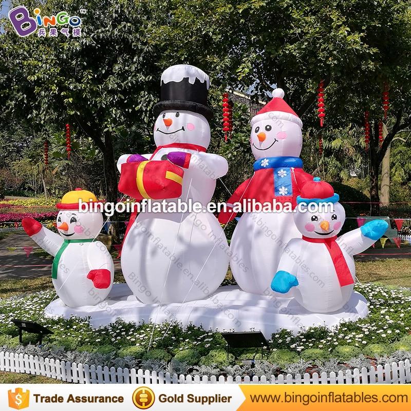 Navidad al aire libre 3 metros muñeco de nieve inflable 4 miembros para patio trasero alta calidad decorativo soplado muñeco de nieve réplica Juguetes