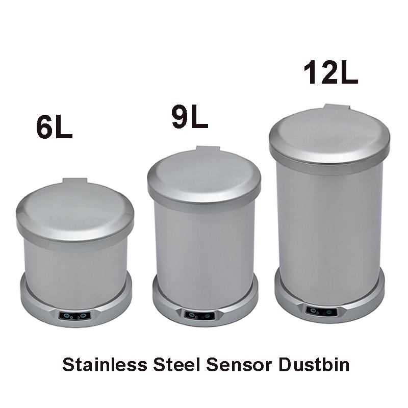 6 Liter Sensor Dustbins Automatic Trash Bins Round Bathroom Top Open Electric Feet Induction Toilet Dustbin 6 L enlarge