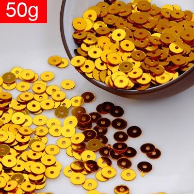 LNHOME-50g(10000 pces) 4mm plana redonda solta lantejoulas paillettes acessórios glitter 14 # confetes da cor do ouro