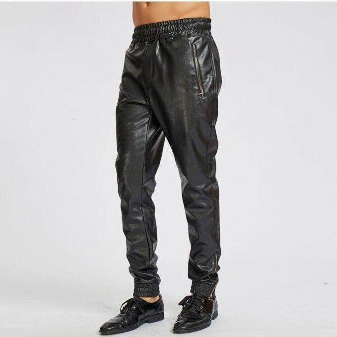 #2220 Autumn Faux Leather Harem Pants For Men Black Streetwear Elastic Waist Hip Hop PU Pants Motorcycle Zipper Mens Joggers