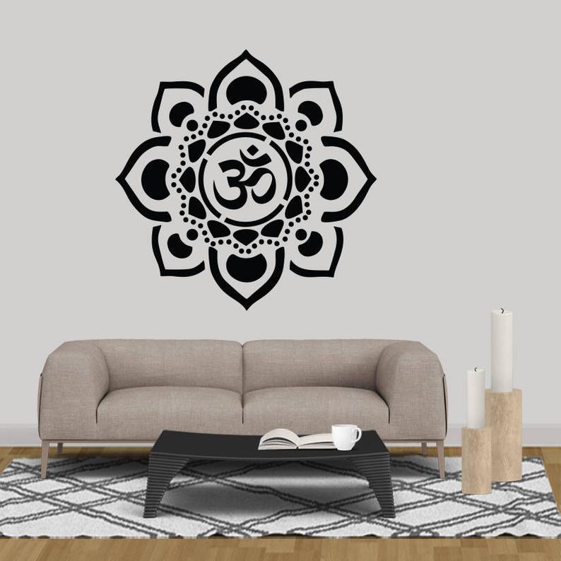 Мандала настенная художественная Наклейка Йога Медитация Om цветок лотоса виниловая фотография украшение для спальни дома N280|Наклейки на стену| | АлиЭкспресс
