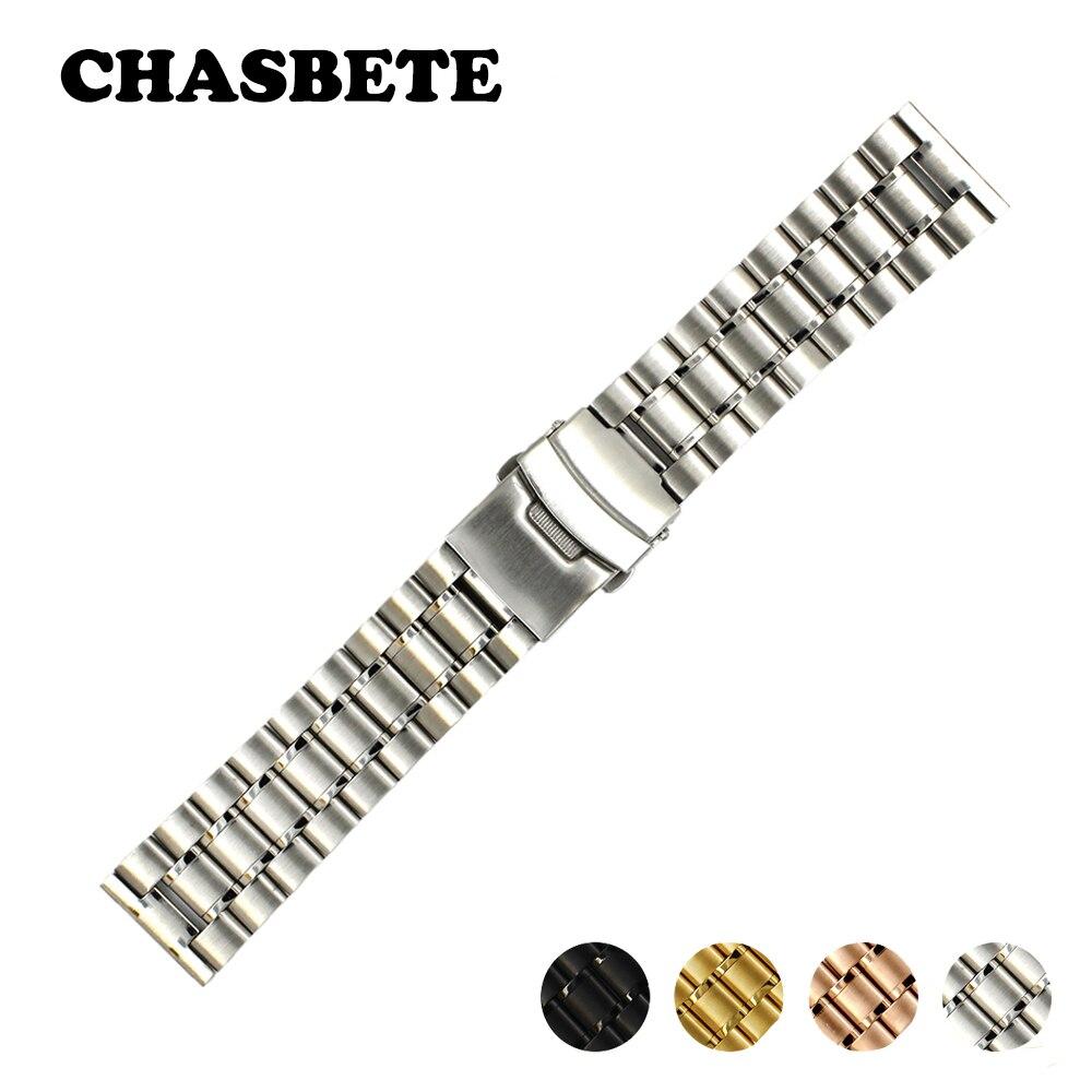 Ремешок для часов из нержавеющей стали, 16 мм, 18 мм, 20 мм, 22 мм, 24 мм, для мужчин и женщин, металлический ремешок, ремешок для запястья, браслет, ч...