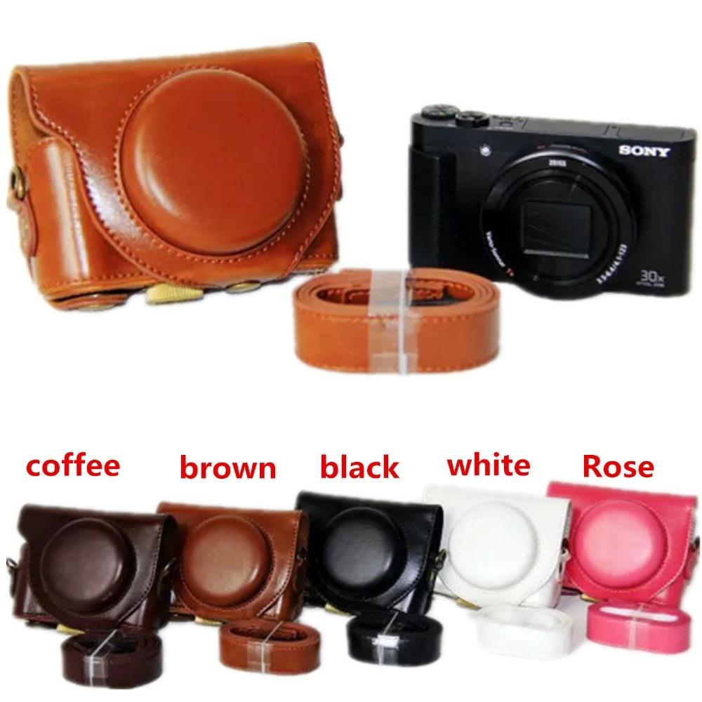 PU LEATHER Camera Bag Case Capa Bolsa Para Sony Cyber shot-DSC-HX90V DSC-HX90 DSC-WX500 com alça de Ombro