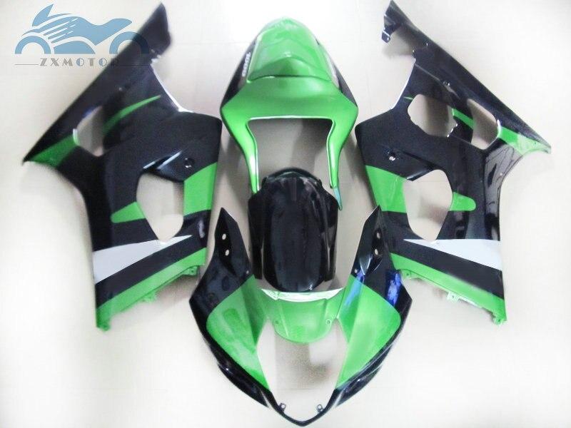 Aftermarket fairing set for SUZUKI K3 GSXR1000 03 04 moto sport racing ABS fairings kit GSXR 1000 2003 2004 green black body kit