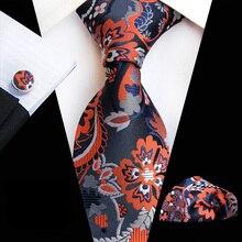 """3 unids/set de lujo de patrón Floral 3,15 """"Formal de los hombres set de corbatas con mancuerna bolsillo cuadrado"""