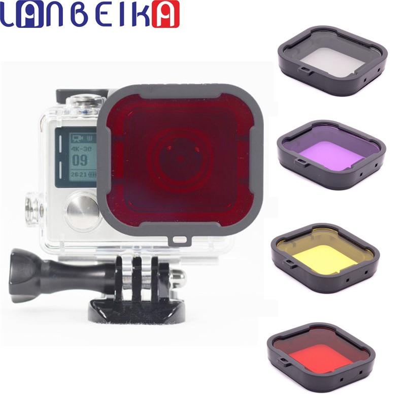 LANBIEKA para Gopro HERO 3 + 4 Filtro de lente de buceo Filtro de lente de cámara rojo púrpura amarillo gris carcasa subacuática lente convertidor