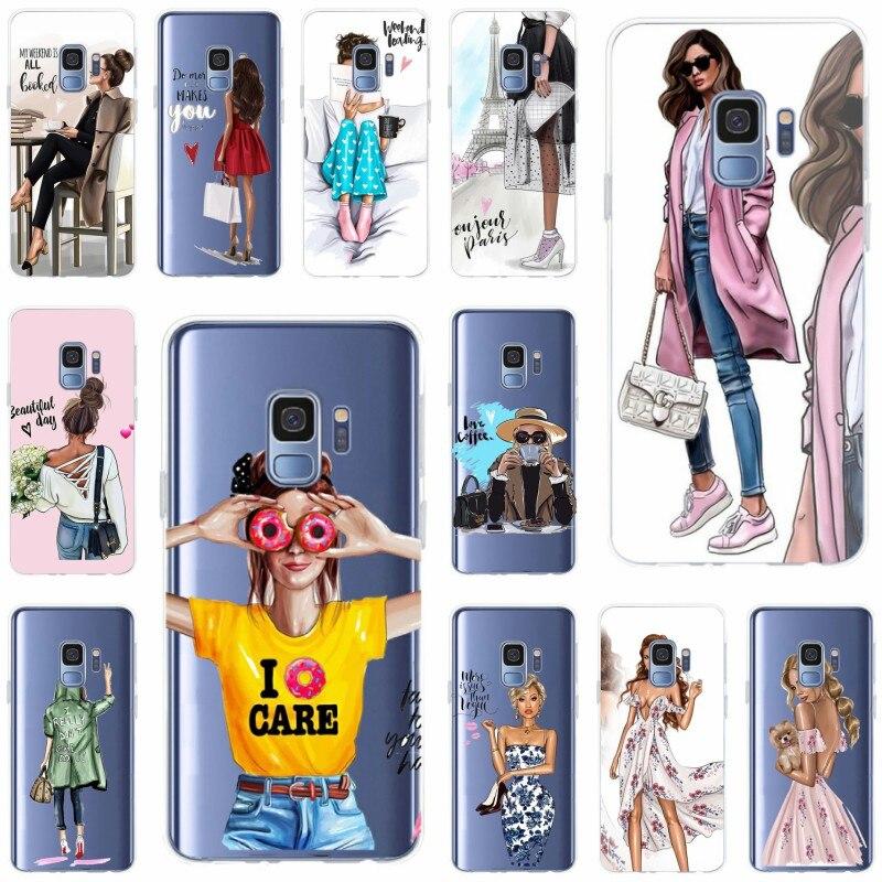 Para Samsung Galaxy S6 S6edge A7 S7 Edge S8 S9 más A5 J5 J7 2016 de la princesa de la Reina de la chica mujer Jefe café cubierta de la caja del teléfono de TPU